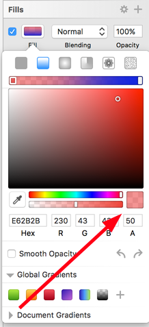 Lowering red opacity